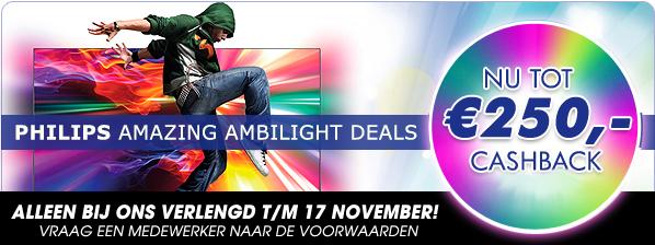 Philips ambilight deals Nu tot 250,- Cashback