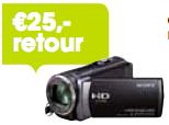 25,- retour bij aankoop van een Sony Handycam actiemodel