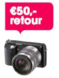 50,- retour bij aankoop van een Sony NEX actiemodel