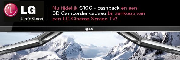 LG actie 100,- cashback en 3D Camcorder