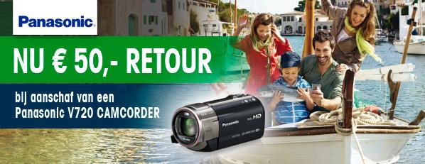 Nu €50,- Retour op Panasonic HC-V720 Camcorder