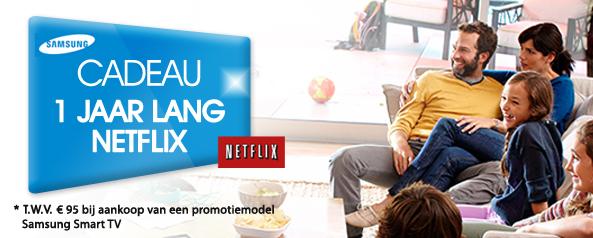 1 Jaar lang Netflix t.w.v. €95 bij aankoop van een promotiemodel Samsung Smart TV